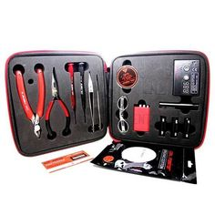 Coil Master DIY Kit V2   Everything you need to wrap coils are organized well in our Coil Master DIY kit V2. With the Coil Master DIY Kit V2, you can wrap coils and vaping everywhere!!   1. 1 x diagonal pliers 2. 1 x Needle-nose pliers 3. 1 x Stainless steel folding scissors 4. 1 x Pen styled cross Screwdriver 5. 1 x Pen styled straight Screwdriver 6. 1 x Ceramic Tweezer (T1) so you can fire your coils while squeezing to 7. 1 x Elbow Tweezer (T3) to make all your adjustments. 8. 1 x Kanthel…
