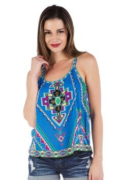 Soul Escape Women's Loose Casual Tank Top Shirt in Blue Aztec Print Tank Top Shirt, Tank Tops, Aztec, Boutique, Casual, Blue, Shirts, Spring Collection, Products