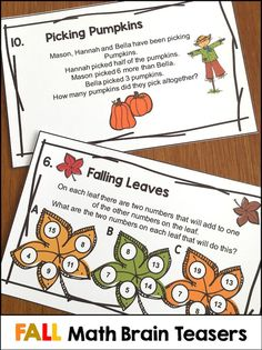 Fall Math Brain Teaser Task Cards To Make Them Think There Are 12 Fall Brain Teasers In The Fall Math Games Puz Fall Math Activities Fall Math Game Fall Math