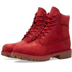"""Timberland 6"""" Premium Boot (Red Monochromatic) ($257) ❤ liked on Polyvore featuring shoes, boots, red boots, timberland boots, timberland shoes, red shoes and timberland footwear"""