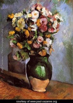 Flowers In An Olive Jar - Paul Cezanne - www.paul-cezanne.org
