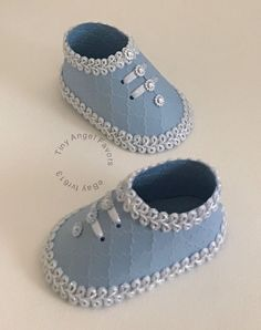 Baby Shower Boy's Shoe, Bootie Favor Boxes, Medium Blue, Embossed, 10  | eBay