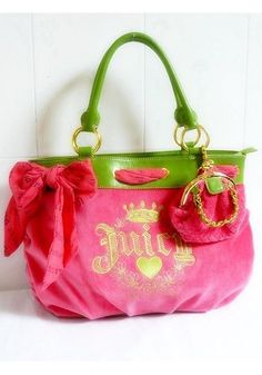 pretty! juicy couture purse i love green and pink together