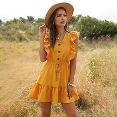 Dress Summer 2020 Solid Yellow Sashes Beach Dress Boho Style Ruffles A-line Mini Sundress Elegant Party Dress Vestidos Yellow Dress Summer, Summer Dress Outfits, Casual Summer Dresses, Summer Dresses For Women, Short Dresses, Pleated Dresses, Sun Dresses, Lace Dresses, Floral Dresses