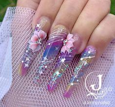 Ballerina Acrylic Nails, Summer Acrylic Nails, Best Acrylic Nails, Acrylic Nail Designs Glitter, Ombre Nail Designs, Cute Nail Colors, Baby Nails, Glamour Nails, Mermaid Nails