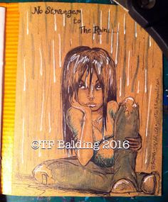 """No Stranger to the Rain"", by TF Balding; original art in Sal's ""Under the Rain"" mail art deco book.  ©TF Balding 2016  https://www.facebook.com/SouthernSweetTeaStudio  https://www.etsy.com/shop/SouthernSweetTea30  https://www.patreon.com/SouthernSweetTea  https://society6.com/tfbalding  https://www.slslines.com/collections/coloring-book-printable/products/adult-coloring-book-featuring-illustratedatcs-artists"