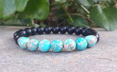 Piedras preciosas para hombres pulsera jaspe azul Onyx negro by Braceletshomme | Etsy