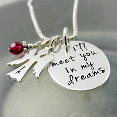 Personalized Remembrance Necklace  Angel by StampedUnderTheMoon, $52.00
