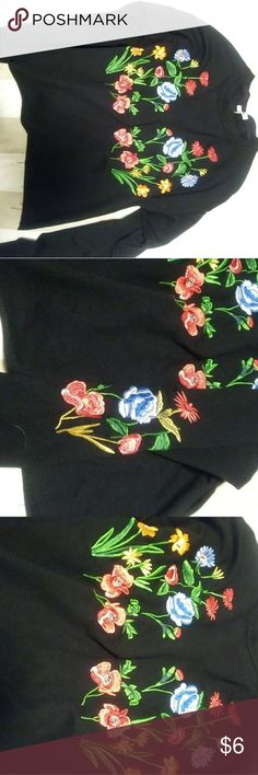 Cute Embroidered Crop Flower Top 🌸🌺 Only worn once, black cut off long sleeve embroidered flower top. It has flowers on both arms as well. bleuh ciel Tops Crop Tops