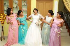 gown design for Indian wedding Bride Reception Dresses, Wedding Dresses, Wedding Bridesmaids, Bridesmaid Dresses, Pastel Gown, Kerala, Wedding Day, Marriage, Wedding Inspiration