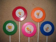 "1 chocolate rolie polie olie edible decal 2 1/4"" lollipops lollipop | sapphirechocolates - Edibles on ArtFire"