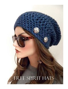 Navy Blue Slouchy Beanie Hat
