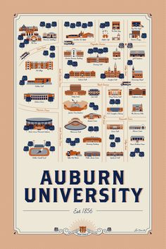 Auburn University Map Illustration, get yours here!