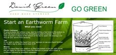 Start your very own Earthworm farm in 3 easy steps. Earthworm Farm, Earth Worms, David Green, Plastic Bins, Tree Leaves, Autumn Trees, Go Green, Compost, Eyewear