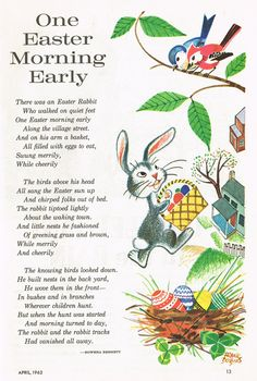 """One Easter Morning Early"" - vintage children's illustration and poem"