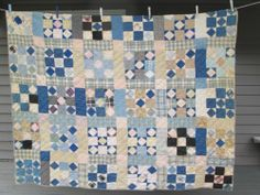 "1800's Antique Double Nine Patch Patchwork Quilt Hand Stitched 68 x 82""   eBay"