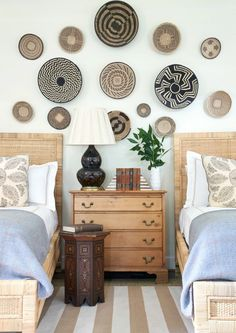 Sarah Bartholomew's Nashville Home -perfeclty styled and shot twin bed set up.