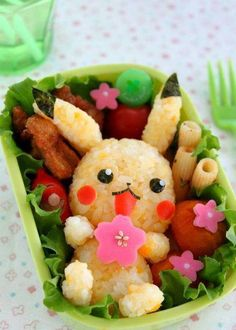 Kawaii...pikachu bento box.... I wish someone would make me a bento!!!!!