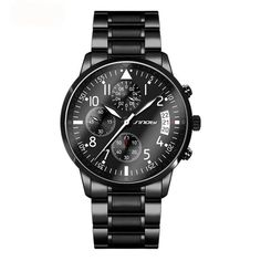 SINOBI New Pilot Mens Chronograph Wrist Watch Waterproof Date Top Luxury Brand Stainless Steel Diver Males Geneva Quartz Clock Men's Watches, Sport Watches, Cool Watches, Wrist Watches, Simple Watches, Elegant Watches, Stylish Watches, Casual Watches, Latest Watches