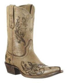 Ariat Pegosa Ladies Stone Washed Tan Floral Pointed Toe Western Boots $329.99----- LOVE