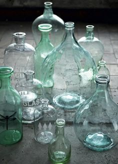 love watery old bottles credit House Doctor Antique Bottles, Vintage Bottles, Bottles And Jars, Glass Jars, Sea Glass, Colored Glass Bottles, Apothecary Bottles, Vintage Perfume, Perfume Bottles