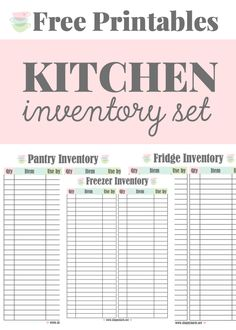 Kitchen Inventory Printables - These free printables will help with meal planning and grocery shopping. It includes a pantry, fridge and freezer inventory.
