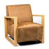 bol.com   Touch Wood Fauteuil met houten frame - Materiaal Kenia Leer Brown