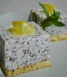 mákos joghurtkocka lemon curd-del töltve Hungarian Desserts, Hungarian Recipes, My Recipes, Sweet Recipes, Cookie Recipes, Poppy Cake, Cake Bars, Mousse Cake, Tea Cakes