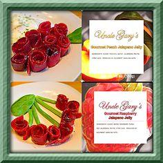 Uncle Gary's Gourmet Raspberry and Peach jalapeño jellies turkey bacon roses