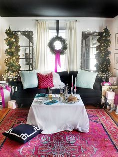 Interior designer Kristin Jackson of The Hunted Interior shares simple, low-stress ways to create a gorgeous Christmas decor in pink and teal.