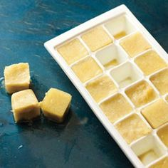 Ginger Ice Cubes Ingredients 8 ounces fresh ginger, peeled and chopped Preparation Puree ginger with cup water. Pour into mini ice cube tray. When frozen, pop cubes out of tray and store in freezer bag. Add to drinks, soups, sauces or stir-fries. Flavored Ice Cubes, Cube Recipe, Freezing Fruit, Sorbets, Fresh Ginger, Uses For Ginger Root, Recipes With Ginger Root, Ginger Tea, Water Recipes