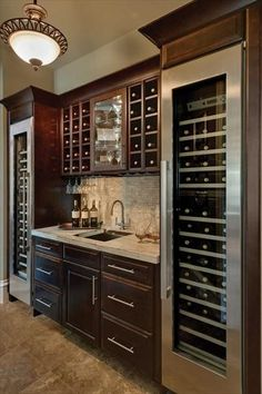 two 18 wine fridges on end small square sink ice maker beverage cooler drawer dont want the wine rack on top want closed cabinets for booze glass cabinet middle for stem. Wine Refrigerator, Wine Fridge, Pantry Storage, Wine Storage, Storage Ideas, Craft Storage, Kitchen Design Gallery, Home Wine Cellars, Home Wine Bar