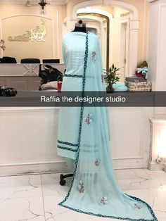 Designer Punjabi Suits, Indian Designer Wear, Embroidery Suits Design, Hand Embroidery, Ladies Suits Indian, Punjabi Suits Party Wear, Hand Painted Sarees, Trendy Suits, Dress Design Sketches