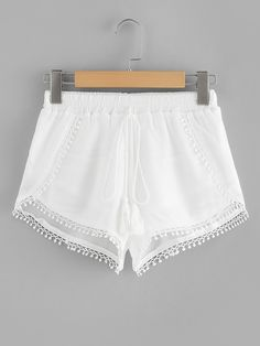 SHEIN offers Lace Trim Fringe Tie Shorts & more to fit your fashionable needs. Lace Trim Shorts, Flowy Shorts, Denim Shorts, White Lace Shorts, Boho Shorts, Short Outfits, Short Dresses, Summer Outfits, Summer Shorts