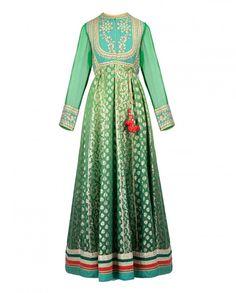 green long sleeve mughal angrakha anarkali kurta SHYAM NARAYAN PRASAD