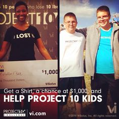 Lose 10 pounds or gain 10 pounds of muscle and help the kids!  Plus you'll be entered to win $1000.10 times and get a FREE shirt!