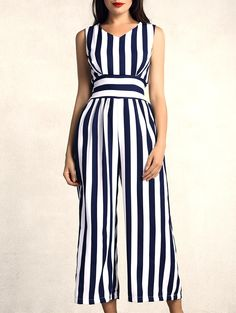 classic navy and white summer striped jumpsuit//