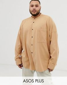 Buy ASOS DESIGN Plus oversized textured grandad collar shirt in tan at ASOS. With free delivery and return options (Ts&Cs apply), online shopping has never been so easy. Get the latest trends with ASOS now. Grandad Collar Shirt, Collar Shirts, Asos, Must Haves, Chef Jackets, Latest Trends, Shirt Dress, Mens Tops, Stuff To Buy
