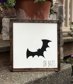 Oh Bats Halloween sign by theboardroompdx on Etsy https://www.etsy.com/listing/555985897/oh-bats-halloween-sign