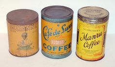 Vintage coffee tin collection.
