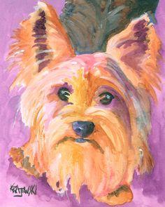 Yorkshire Terrier impresión del arte de la Acuarela Original - 8 x 10