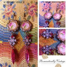 Garden Beauty Earrings Vintage Pink Dangles by RomanticallyVintage, $61.50