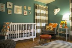neutral nursery, teal walls, Babyletto crib, grey and white striped curtains. Newlywed and Renovating: Eeek! Nursery Reveal!