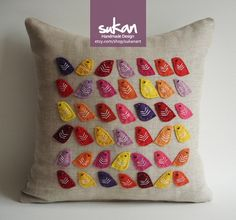 Birds Raw Linen Pillow Cover - 14x14 inch -Yellow, Pink, Purple, Orange, Yellow,Red Color