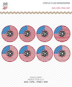 Circle Flag Monogram 4th July independence day Patriotic Monogram Frames DXF SVG PNG eps for Cricut Design, Silhouette studio, Makes the Cut by SvgCutArt on Etsy