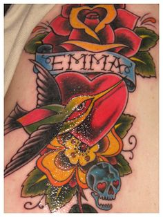 A tattoo I have... a traditional style hummingbird. <3