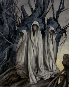 Brian Froud----brings to mind the three weird sisters of Macbeth                                                                                                                                                                                 More