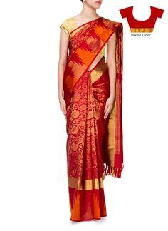 Red Pure Silk Floral Jacquard Saree