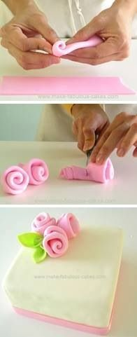 to make fondant ribbon roses. Simple and easy for Mother's Day cakes, cupcakes, etc.How to make fondant ribbon roses. Simple and easy for Mother's Day cakes, cupcakes, etc. Fondant Cupcakes, Fondant Icing, Cupcake Cakes, Simple Fondant Cake, Frosting, Simple Cakes, Car Cakes, Fondant Baby, Cake Baby