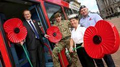 Poppy bus in the UK Remembrance Day Poppy, About Uk, Poppies, Poppy, Poppy Flowers